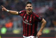 André Silva celebrating during Milan-Chievo at Stadio San Sro on March 18, 2018. (Photo by Marco Luzzani/Getty Images)