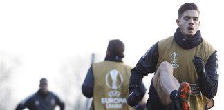 André Silva during training at Milanello. (@acmilan.com)