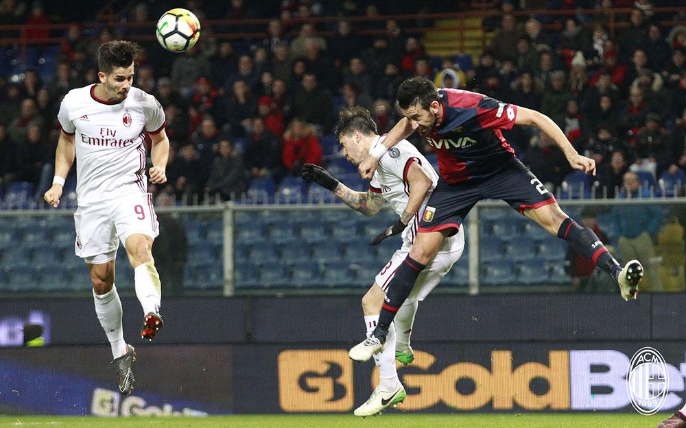 André Silva scoring during Genoa-Milan at Stadio Luigi Ferraris on March 11, 2018. (@acmilan.com)