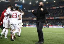 Gennaro Gattuso celebrating at the end of Genoa-Milan at Stadio Luigi Ferraris on March 11, 2018. (@acmilan.com)