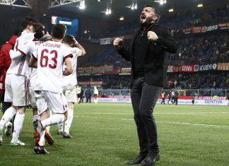 Gennaro Gattuso celebrating at the end of Genoa-Milan at Stadio Luigi Ferraris on March 11, 2018. (@acmilan.com)