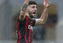 Patrick Cutrone celebrating during Milan-Chievo at Stadio San Sro on March 18, 2018. (@acmilan.com)