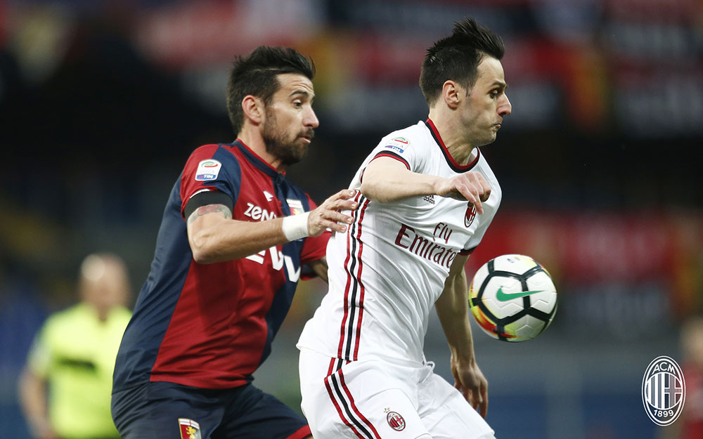 Nikola Kalinić during Genoa-Milan at Stadio Luigi Ferraris on March 11, 2018. (@acmilan.com)