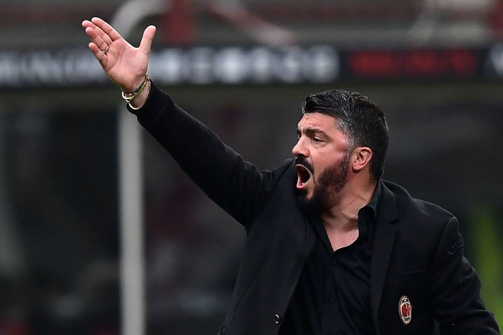 Gennaro Gattuso at the end of Milan-Napoli at Stadio San Siro on April 15, 2018. (MIGUEL MEDINA/AFP/Getty Images)