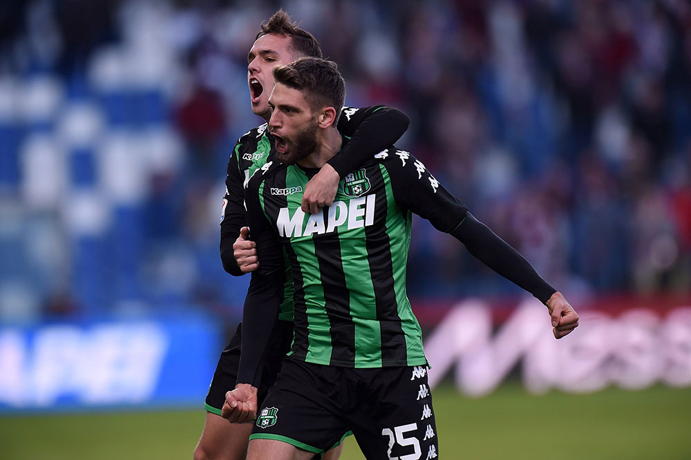 Domenico Berardi celebrating during Sassuolo-Torino at Mapei Stadium – Città del Tricolore on January 21, 2018. (Photo by Tullio M. Puglia/Getty Images)