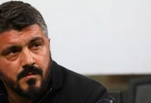 Gennaro Gattuso during Milan-Inter at Stadio San Siro on April 4, 2018. (Photo by Marco Luzzani/Getty Images)