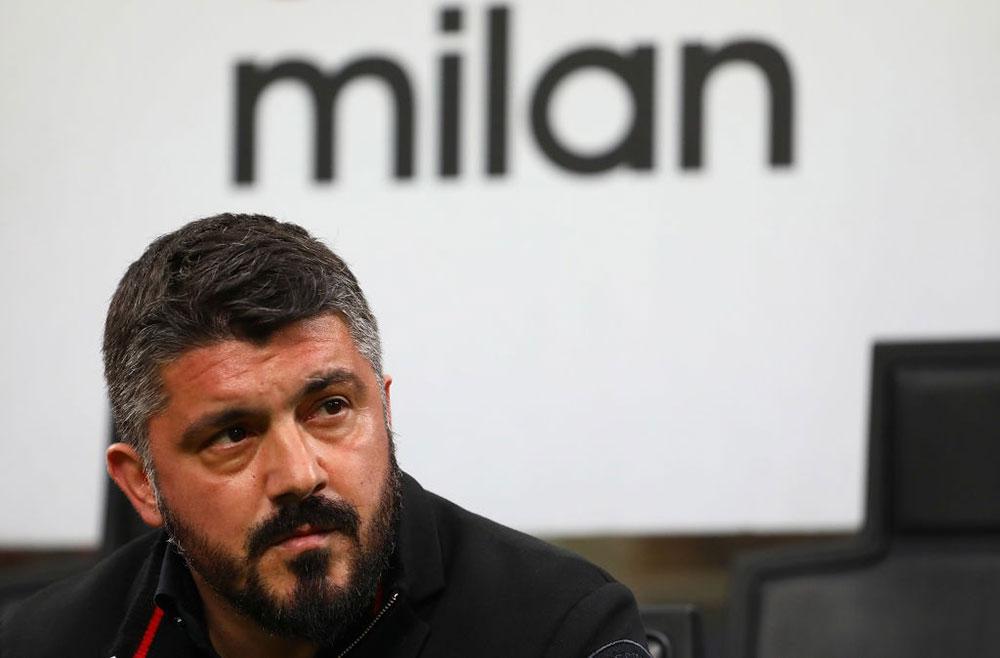 Gennaro Gattuso during Milan-Inter at Stadio San Siro on April 4, 2018. (Photo by Marco Luzzani/Getty Images)