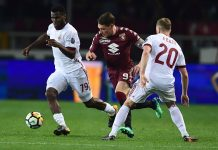 Franck Kessié, Ignazio Abate and Andrea Belotti during Toirno-Milan at Stadio Olimpico Grande Torino on April 18, 2018. (MIGUEL MEDINA/AFP/Getty Images)