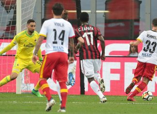 Pietro Iemmello scoring during Milan-Benevento at Stadio San Siro on April 21, 2018. (Photo by Emilio Andreoli/Getty Images)