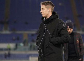 Andrea Conti before Lazio-Milan at Stadio Olimpico on February 28, 2018. (@acmilan.com)