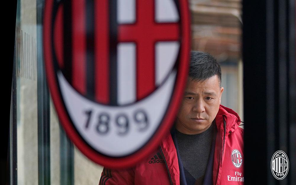 Yonghong Li at Milanello on March 5, 2018. (@acmilan.com)