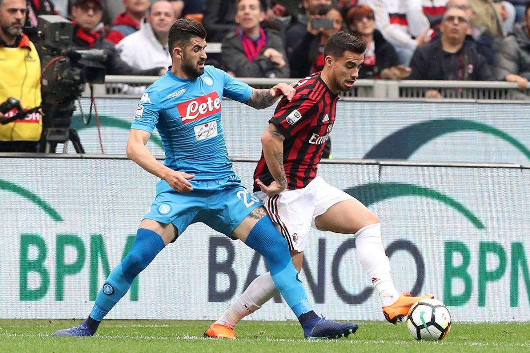 Suso and Elseid Hysaj during Milan-Napoli at Stadio San Siro on April 15, 2018. (Photo by Marco Luzzani/Getty Images)