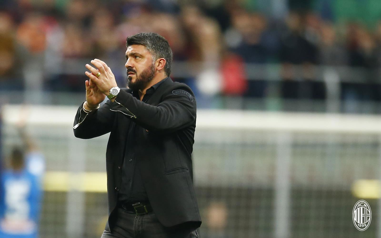 Gennaro Gattuso at the end of Milan-Napoli at Stadio San Siro on April 15, 2018. (@acmilan.com)