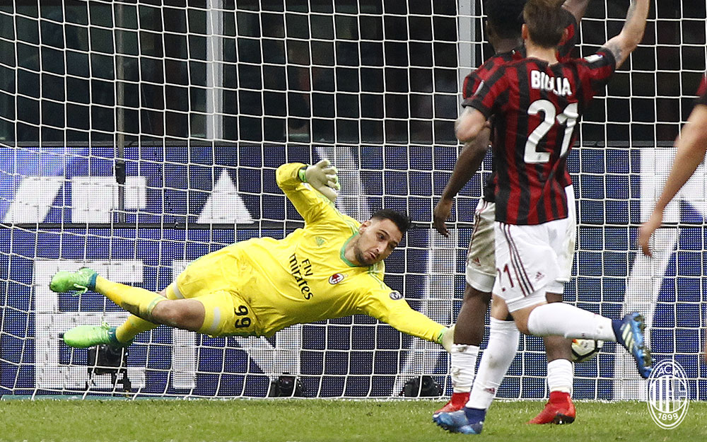 Gianluigi Donnarumma during Milan-Napoli at Stadio San Siro on April 15, 2018. (@acmilan.com)