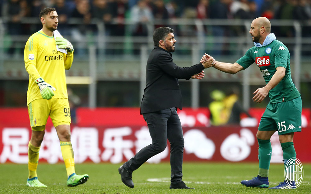 Gianluigi Donnarumma, Gennaro Gattuso and Pepe Reina at the end of Milan-Napoli at Stadio San Siro on April 15, 2018. (@acmilan.com)