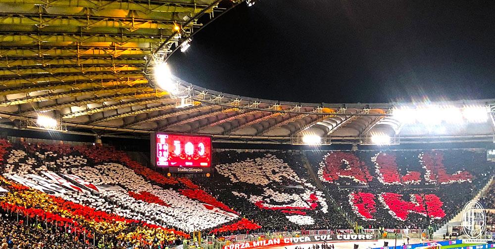 The Milan tifo before Juventus-Milan at Stadio Olimpico on May 9, 2018. (@acmilan.com)