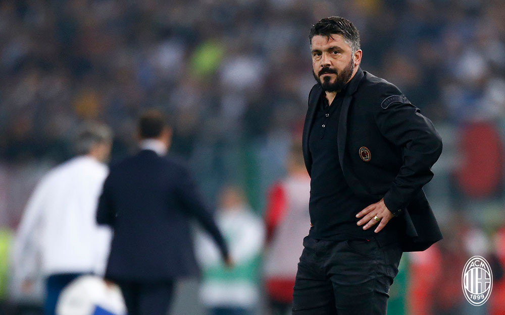 Gennaro Gattuso during Juventus-Milan at Stadio Olimpico on May 9, 2018. (@acmilan.com)