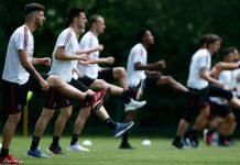 Patrick Cutrone during training at Milanello. (@acmilan.com)