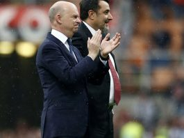 Marco Fassone and Massimiliano Mirabelli at the end of Milan-Fiorentina at Stadio San Siro on May 20, 2018. (@acmilan.com)
