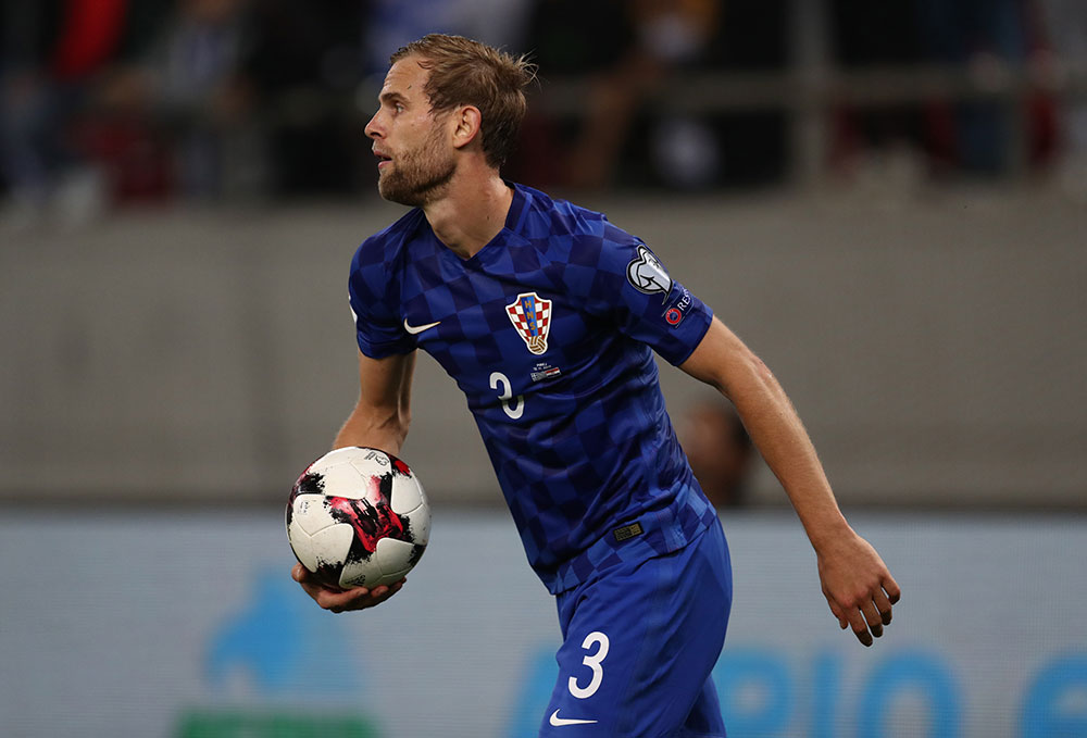 Ivan Strinić during the Greece-Croatia FIFA 2018 World Cup Qualifier Play-Offs second at Karaiskakis Stadium on November 12, 2017. (Photo by Catherine Ivill/Getty Images)