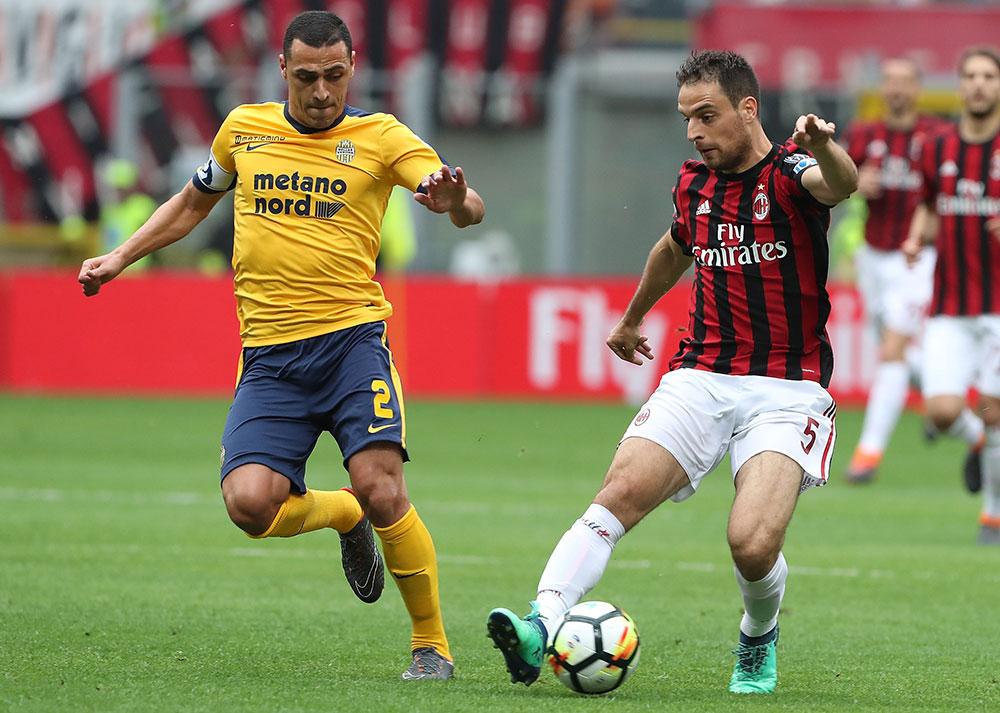 Giacomo Bonaventura and Rômulo during Milan-Hellas Verona at Stadio San Siro on May 5, 2018. (Photo by Marco Luzzani/Getty Images)