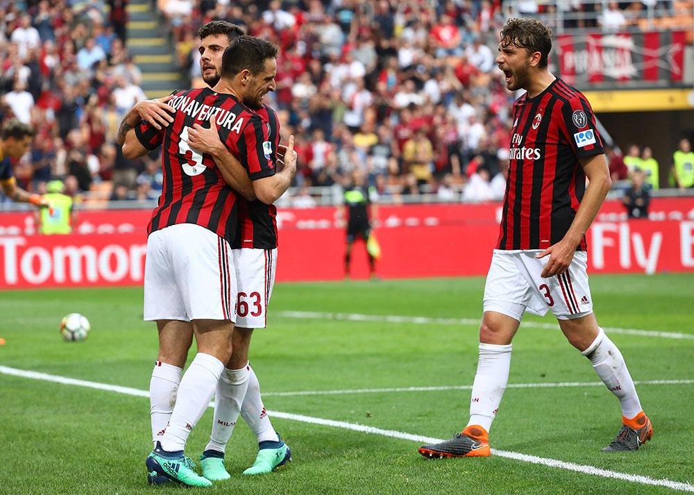 Patrick Cutrone, Giacomo Bonaventura and Manuel Locatelli celebrating during Milan-Hellas Verona at Stadio San Siro on May 5, 2018. (Photo by Marco Luzzani/Getty Images)