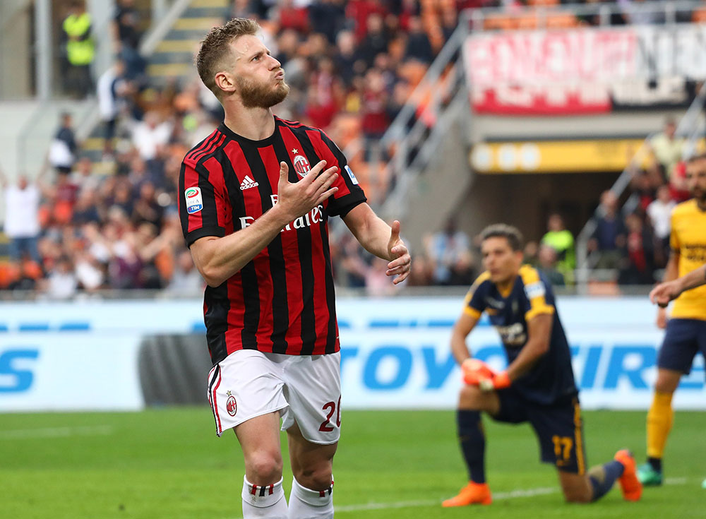 Ignazio Abate celebrating during Milan-Hellas Verona at Stadio San Siro on May 5, 2018. (Photo by Marco Luzzani/Getty Images)