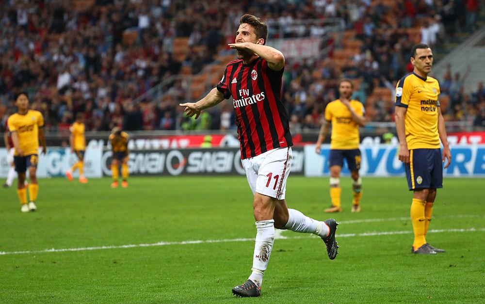 Fabio Borini celebrating during Milan-Hellas Verona at Stadio San Siro on May 5, 2018. (Photo by Marco Luzzani/Getty Images)