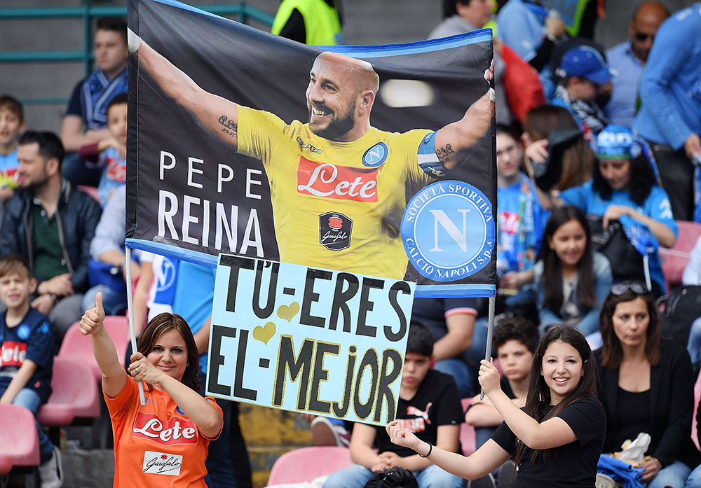Napoli fans showing a Pepe Reina banner during Napoli-Torino at Stadio San Paolo on May 6, 2018. (Photo by Francesco Pecoraro/Getty Images)
