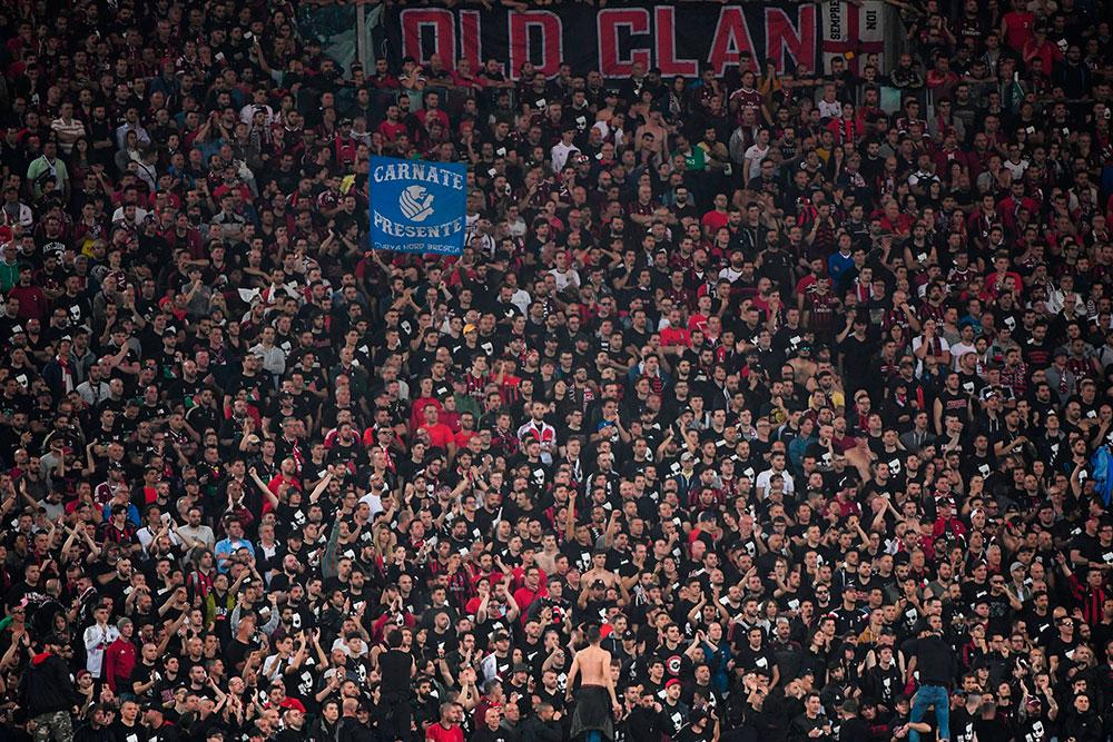 Milan fans during Juventus-Milan at Stadio Olimpico on May 9, 2018. (TIZIANA FABI/AFP/Getty Images)