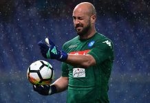 Pepe Reina during Sampdoria-Napoli at Stadio Luigi Ferraris on May 13, 2018. (MIGUEL MEDINA/AFP/Getty Images)