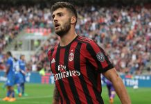 Patrick Cutrone celebrating during Milan-Fiorentina at Stadio San Siro on May 20, 2018. (Photo by Emilio Andreoli/Getty Images)