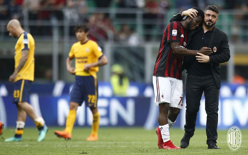 Gennaro Gattuso and Franck Kessié celebrating at the end of Milan-Hellas Verona at Stadio San Siro on May 5, 2018. (@acmilan.com)