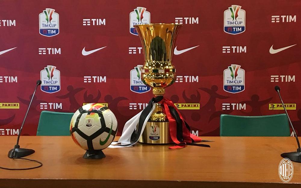 The Coppa Italia trophy at Stadio Olimpico on May 8, 2018. (@acmilan.com)