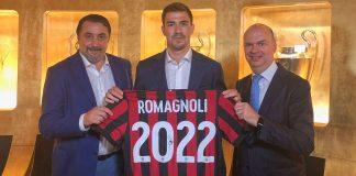 Massimiliano Mirabelli, Alessio Romagnoli and Marco Fassone at Casa Milan on June 6, 2018. (@acmilan.com)