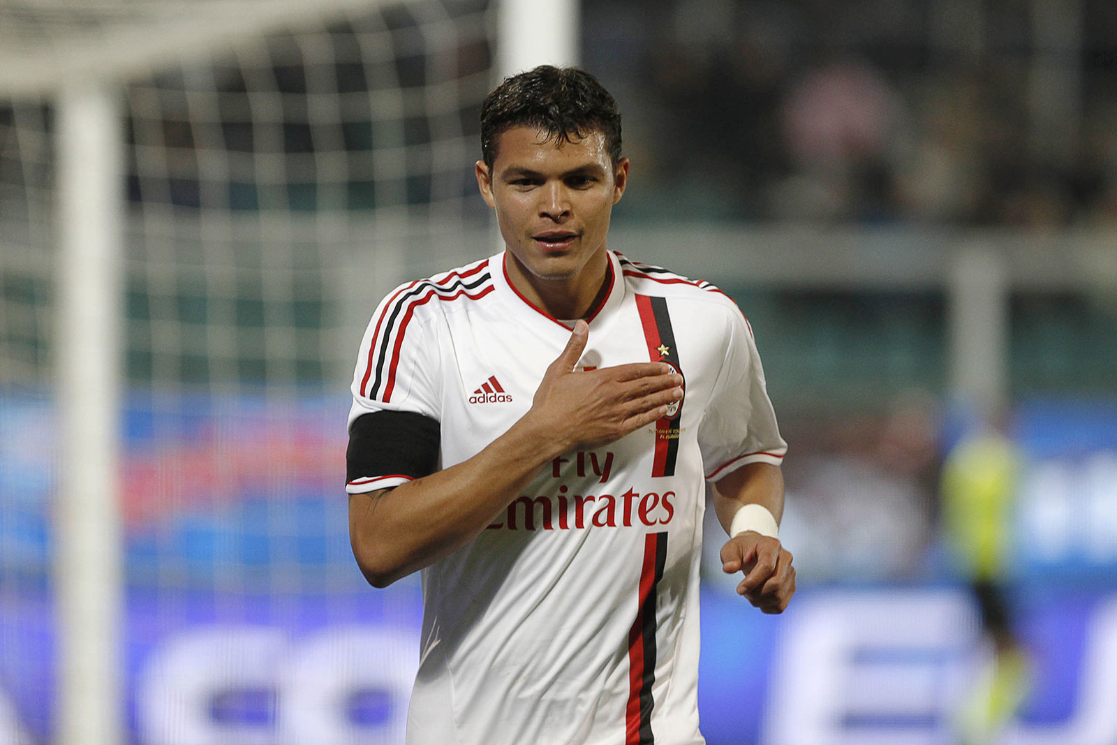 Thiago Silva celebrating during Palermo-Milan at Stadio Renzo Barbera on March 3, 2012. (MARCELLO PATERNOSTRO/AFP/Getty Images)