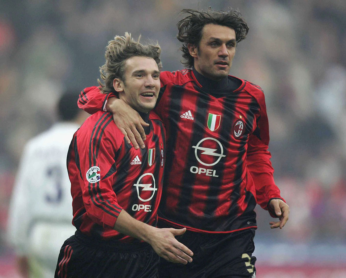 Paolo Maldini and Andriy Shevchenko celebrating during the Milan-Fiorentina at Stadio San Siro, on December 12, 2004. (Photo by New Press / Getty Images)