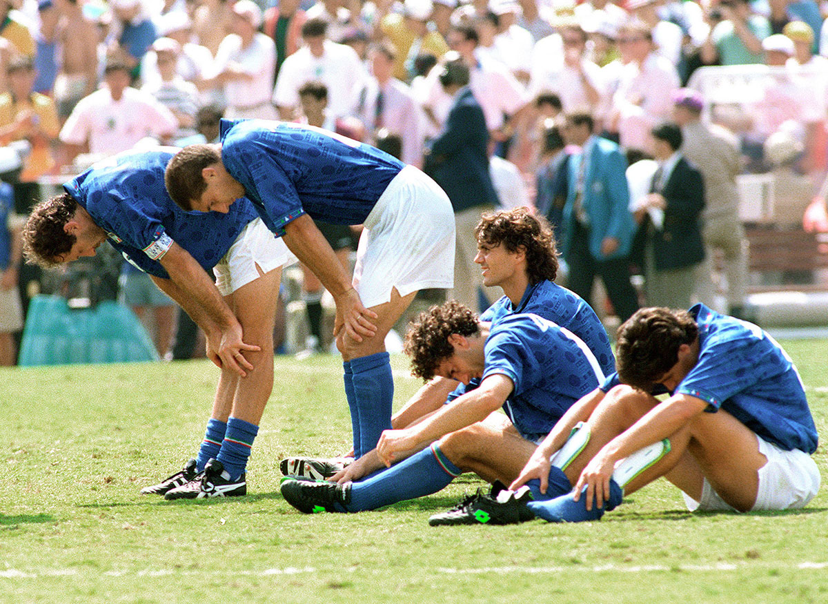 Franco Baresi, Daniele Massaro, Paolo Maldini, Roberto Donadoni and Demetrio Albertini after Roberto Baggio missed his penalty shot during the penalty shoot-out, giving Brazil a 3-2 victory in the 1994 World Cup final. (EUGENE GARCIA/AFP/Getty Images)