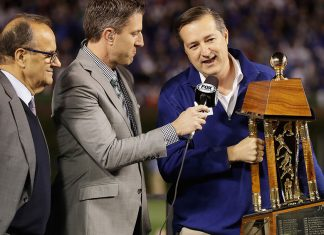 Chicago Cubs owner Thomas S. Ricketts interviewed after the Chicago Cubs defeated the Los Angeles Dodgers 5-0 in game six of the National League Championship Series to advance to the World Series against the Cleveland Indians at Wrigley Field on October 22, 2016 in Chicago, Illinois. (Photo by Jamie Squire/Getty Images)