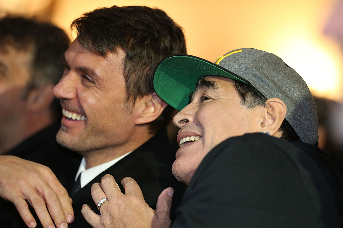 Paolo Maldini and Diego Armando Maradona during the Italian Football Federation Hall of Fame ceremony at Palazzo Vecchio on January 17, 2017 in Florence, Italy. (Photo by Gabriele Maltinti/Getty Images)