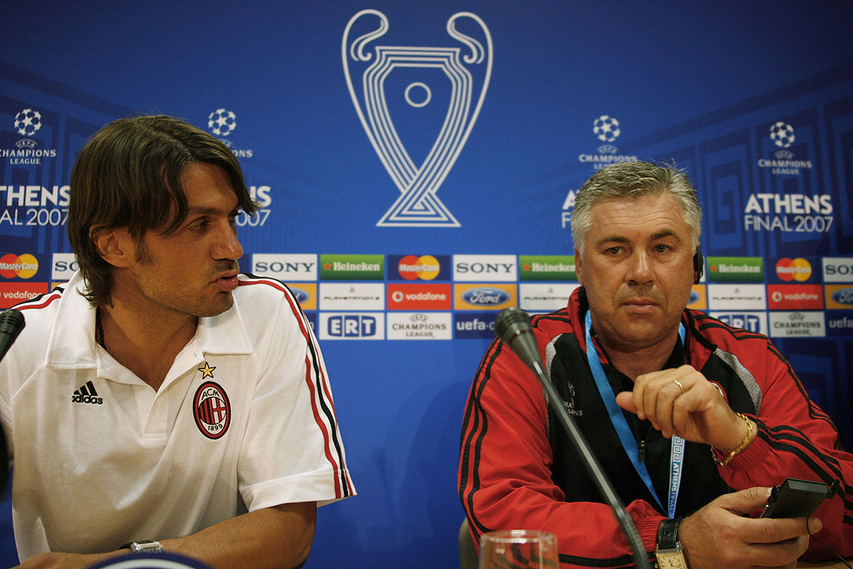 Paolo Maldini and Carlo Ancelotti during a press conference at the Olympic Stadium, on May 22, 2007. (OLIVIER MORIN/AFP/Getty Images)