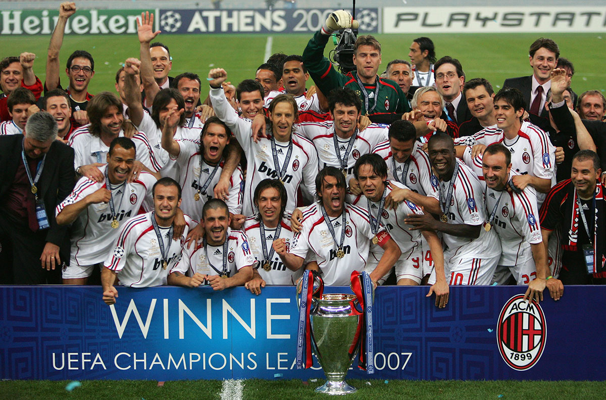 Paolo Maldini and Milan celebrate with the trophy following their 2-1 victory during the Liverpool-Milan UEFA Champions League Final at the Olympic Stadium on May 23, 2007 in Athens, Greece. (Photo by Jamie McDonald/Getty Images)
