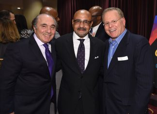 Rocco B. Commisso and Doug Halloway during the 34th Annual Walter Kaitz Foundation Fundraising Dinner at Marriot Marquis Times Square on September 27, 2017 in New York City. (Photo by Larry Busacca/Getty Images for The Walter Kaitz Foundation)