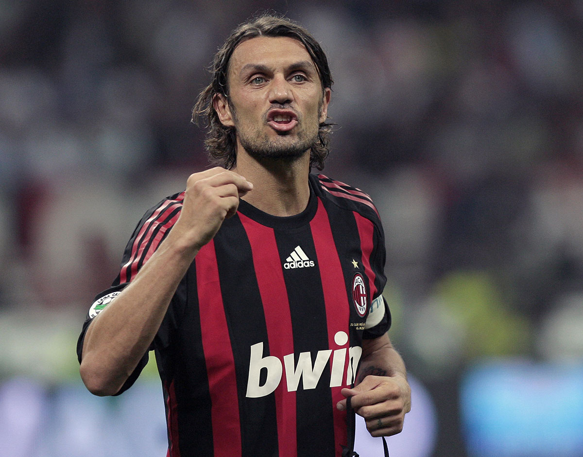 Paolo Maldini during Milan-Juventus at Stadio San Siro on May 10, 2009. (Emilio Andreoli/AFP/Getty Images)