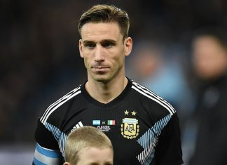 Lucas Biglia before Argentina-Italy at Etihad Stadium on March 23, 2018. (OLI SCARFF/AFP/Getty Images)