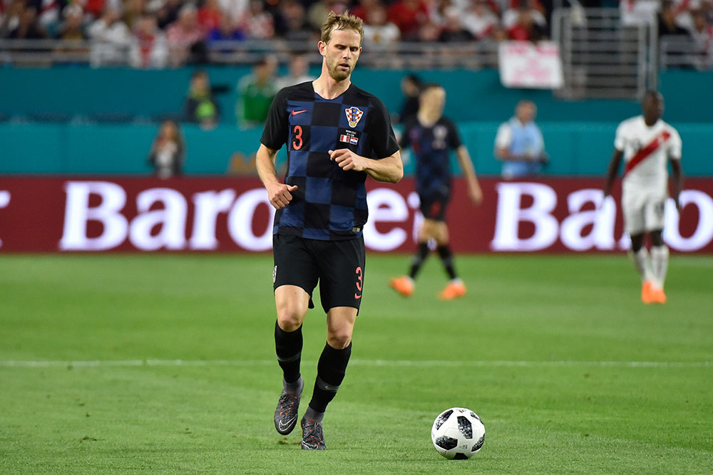 Ivan Strinić during Peru-Croatia at Hard Rock Stadium on March 23, 2018. (Photo by Eric Espada/Getty Images)
