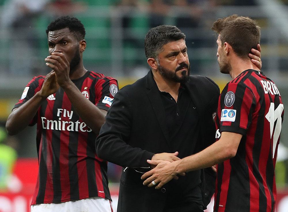 Gennaro Gattuso, Fabio Borini and Franck Kessié at the end of Milan-Hellas Verona at Stadio San Siro on May 5, 2018. (Photo by Marco Luzzani/Getty Images)