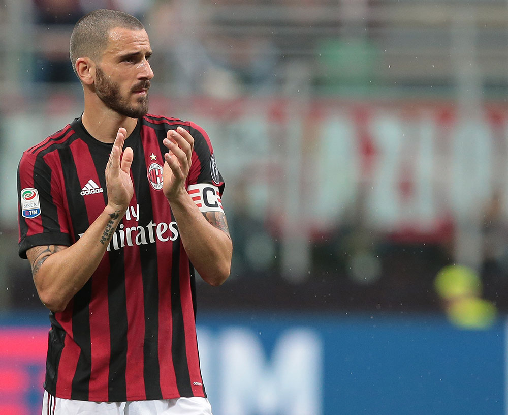 Leonardo Bonucci during Milan-Fiorentin at Stadio San Siro on May 20, 2018. (Photo by Emilio Andreoli/Getty Images)