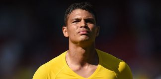 Thiago Silva at the end of Brazil-Croatia at Anfield Stadium on June 3, 2018. (OLI SCARFF/AFP/Getty Images)