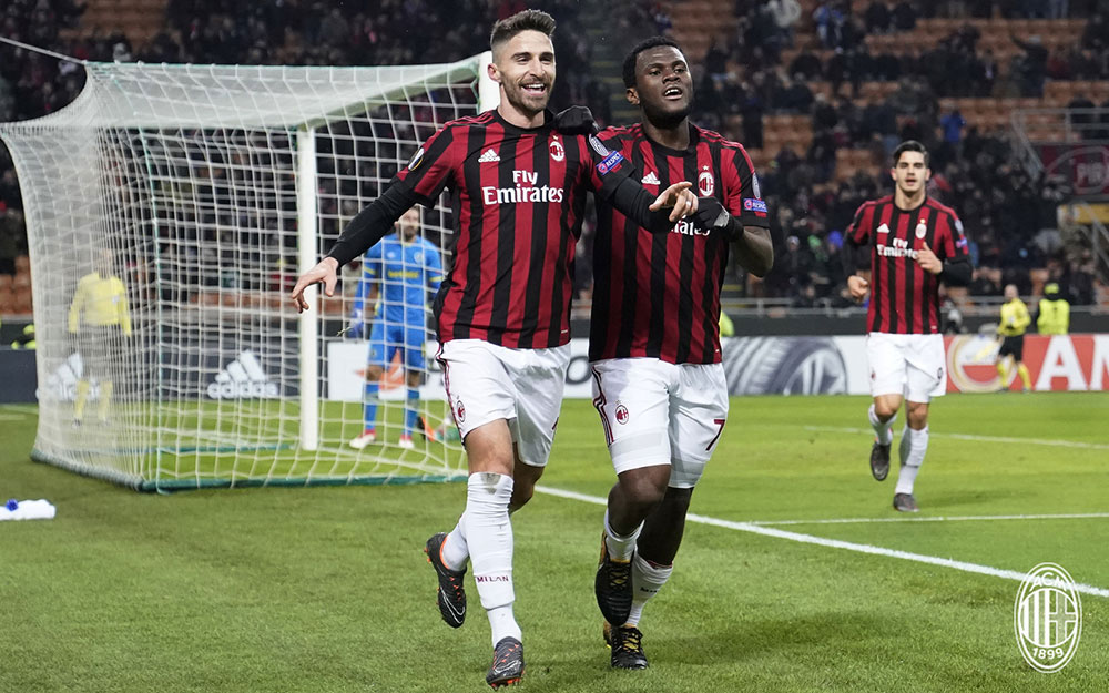 Fabio Borini celebrating during Milan-Ludogorets at Stadio San Siro on February 22, 2018. (@acmilan.com)
